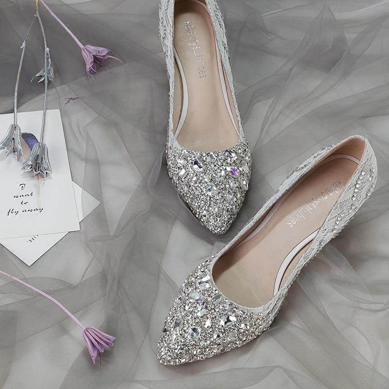 Wedding Shoes Female New Crystal Shoes Princess Diamond Silver Bride Shoe Tip Medium-heeled Banquet High-heeled Shoes