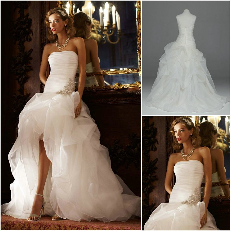 2016 New Arrival Best Selling Strapless Applique Organza Ruffled High Low Wedding Dresses New Arrival