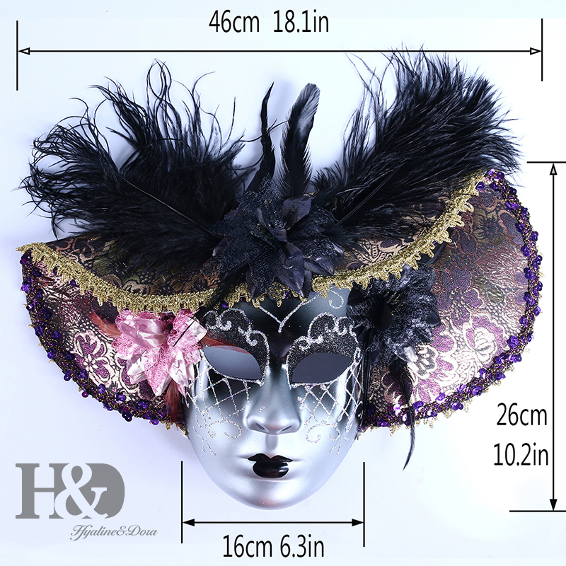 Image 5 - H&D Elegant Black Feather Hat Full Face Venetian Mask Halloween Masquerade Party Masks Italy Lady Mask Party Favor GiftsParty Masks   -