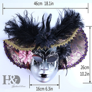 Image 5 - H&D Elegant Black Feather Hat Full Face Venetian Mask Halloween Masquerade Party Masks Italy Lady Mask Party Favor Gifts