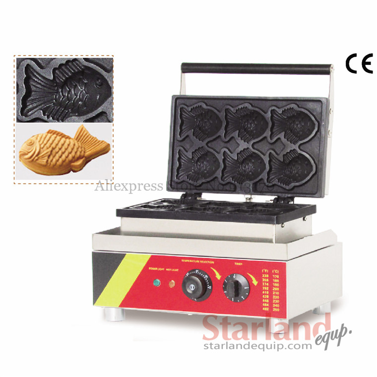 Electric Taiyaki waffle machine fish-shape cake waffle delicious snack machine with 6 moulds 110v 220v electric taiyaki waffle machine fish shape cake waffle baker taiyaki maker wonderful snack machine with 6 moulds