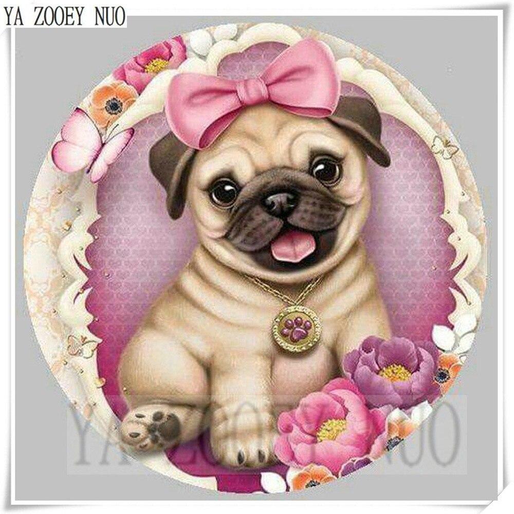 YA ZOOEY NUO100% DIY 3D Diamond Inlaid Pugs Animal Diamonds Cross Stitch Set Diamond Embroidery Dog Patterns Rhinestones K1282