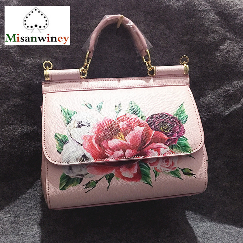 Luxury Italy Brand Real Leather Top Quality Handbag Women Bags Print Big Flower Red Rose Shoulder Bag Famous Designer Pink White big italy