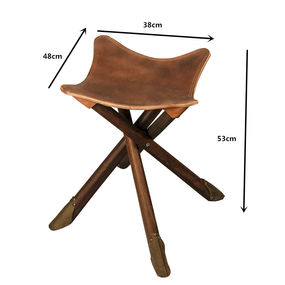 Portable Four Legs Wood Folding Stool Fishing W Saddle