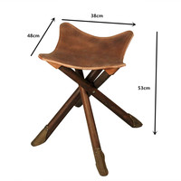 Portable Four Legs Wood Folding Stool Fishing W/Saddle Leather Seat For Indoor/Outdoor Furniture Tripod Stool Bench Foldable