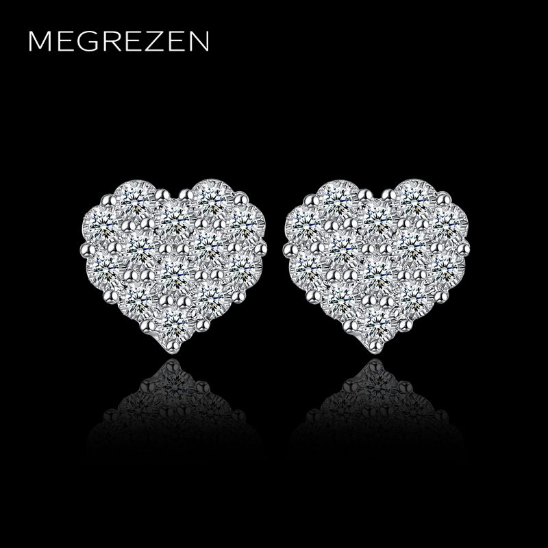 MEGREZEN Silver Heart Earrings With Stones For Women Zirconia Fashion Jewelery Earring Heart Oorbellen Voor Vrouwen CE763-5