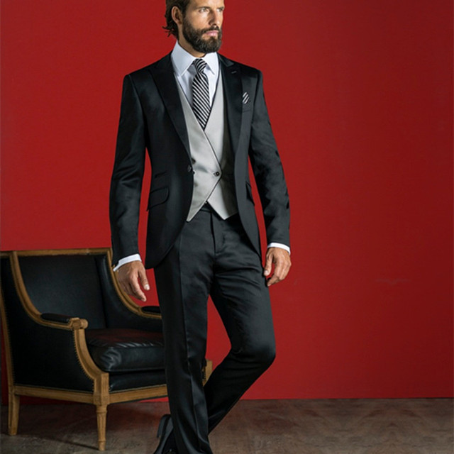 Nero Grigio Vestito Da Uomo Slim Fit 3 Pezzo Italiano Classico Smoking Su  Misura Blazer Prom 6e8fdf74ee2