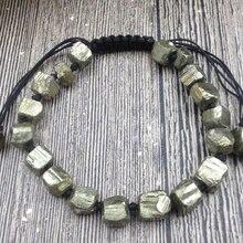 YA3060 натуральный грубый Пирит Камень шнур завязанный регулируемый браслет
