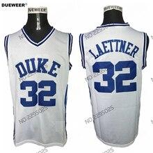 2e0fe6bc2d2f DUEWEER Mens Christian Laettner Duke University Basketball Jersey Throwback  White Duke Blue Devils College Basketball Jerseys