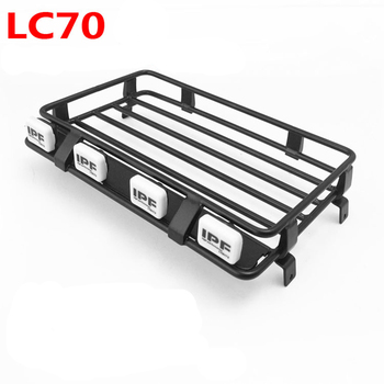 1/10 rc crawler model car ARB roof luggage rack with spotlights sets assembly for Toyota KILLERBODY LC70 car shell body image