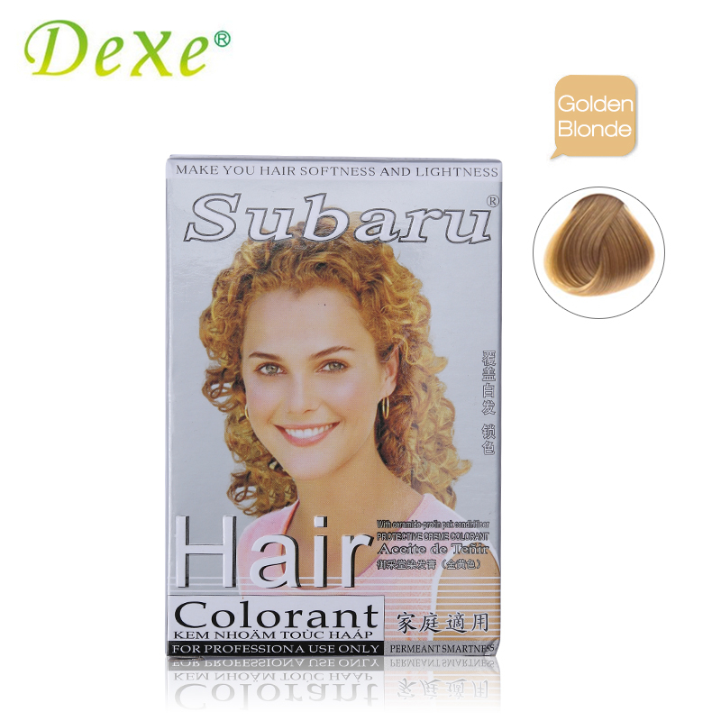 Golden Blonde Dexe Brand 2pcs/set Hair Colorant Cream Hair Dye + dioxygen Milk D