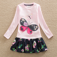 2016 wholesale baby Girl Clothes Long Sleeve Girls Dress butterfly Kid clothing princess Dresses A-line children clothing LH5460