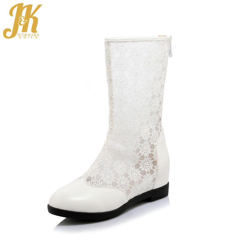 JK Summer High Heels Mid Calf Boots Women 2018 New Autumn Lace Boots Round Toe Stitching Footwear Fashion Female Elevator Shoes