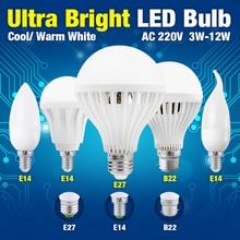 HOT SALE B22 E27 Led Bulb Light Smd 2835/5730 5w 7w 9w 12w 15w Cool Warm White Lamp 220v For Decor Home Office e27 7w 600lm 6500k 38 smd 2835 led white light bulb white silvery grey 175 265v