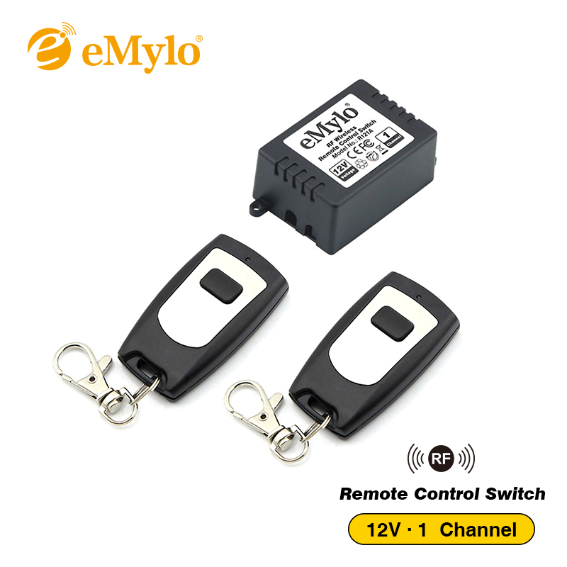 eMylo DC 12V Smart Learning Switch, Wireless Remote Control Light Switch Black&White Type 2X Transmitter 1 Channel Relay 433Mhz emylo switch dc 12v smart wireless rf remote control light switch 433mhz black