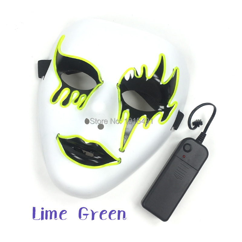 10 Colors Popular Led Strip Neon Death Grimace Mask Nighttime Fashion Show Decor EL Wire Rave Glow Mask Music Festival Supplies