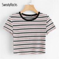 SweatyRocks контрастная лента полосатый принт полосатая футболка короткий рукав круглый вырез Топы женские летние эластичные облегающие укороч...
