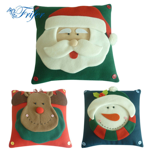 3D Velvet Christmas Pillow Cover Cases Xmas Snowman Elk Santa Claus Cushion Covers Pillowcase Navidad New