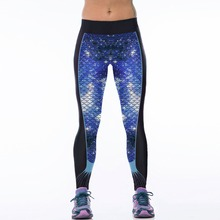 New 060 Sexy Girl Jogging Leggings Comics Galaxy Blue Mermaid Scale Prints High Waist Running Fitness