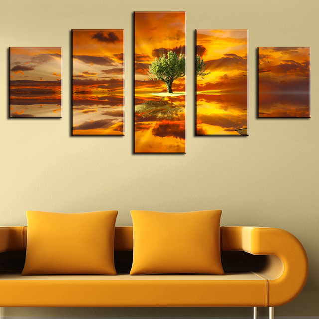5 Panel tree landscape Modern Home Wall Decor Canvas Picture Art ...