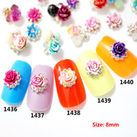 100pcs/bag Mix Japanese Nail Art Newest 3D Korea Trending Style Resin Roses Acrylic Artificial Flower Nail Art Decorations Metal