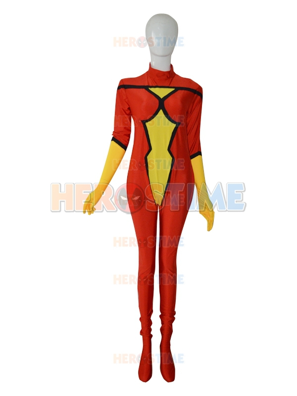 New Spider Woman Superhero Costume Halloween Cosplay Party Catsuit The Most Popular Zentai Suit free shipping