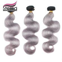 Free Shipping 3pcs Brazilian Remy Grey Body Wave 1b/grey Ombre Human Hair Weave Bundles No tangle No shed Stema Hair Products