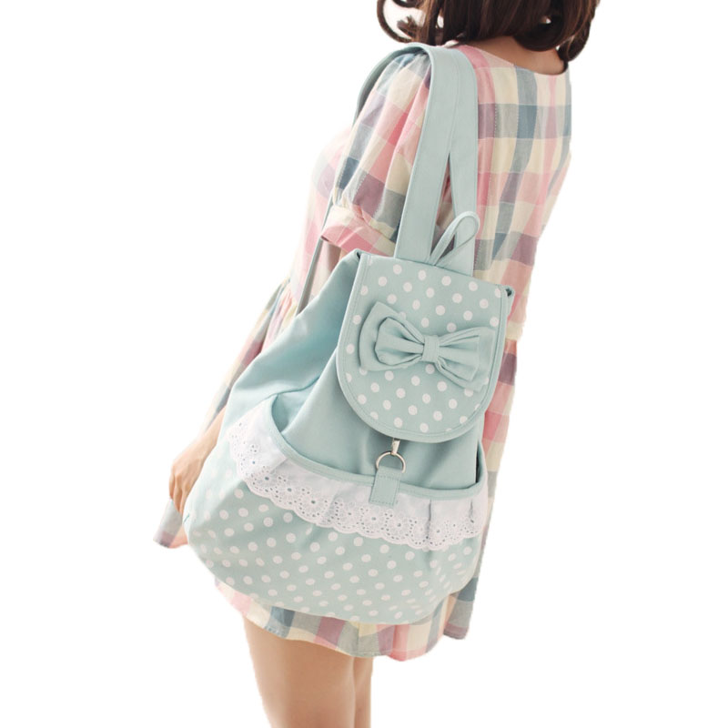 Big Bow Women Canvas Backpack School bag For Girl Dot Lace Ladies Teenagers Casual Travel bags Schoolbag Backpack big bow women canvas backpack school bag for girl dot lace ladies teenagers casual travel bags schoolbag backpack