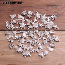 PULCHRITUDE 20pcs Vintage Metal Mix Size/Style Random Marine Organism Fish Charms for Jewelry Making Diy Handmade Jewelry P6662(China)