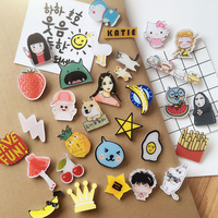10pcs Cute cartoon acrylic badges brooch puppies Harajuku style husky backpack decorations Burger letters Children's prizes gift