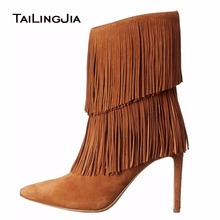 Women Short Ankle Boots Pointed Toe High Heels Tassel Brown Black Suede Stilettos Fashion 2019 Winter Party Evening Warm Shoes цена 2017