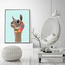 Fashion Llama Art Print Canvas Posters and Prints Modern Dress llama Kerchief Sunglasses Photo Picture Wall Art Home Decoration art and fashion