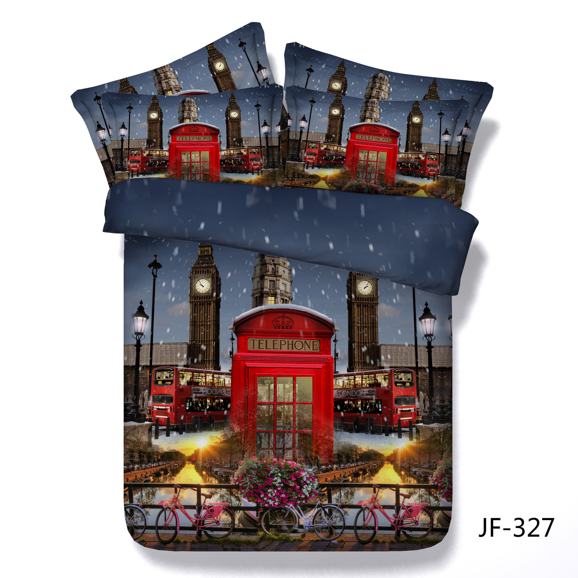 Responsible Classical London Red Double Decker Bus Printed Bedlinen Set Bed Duvet Set Cotton Quilt Covers Super King Size Bedding Sets 3d Diversified In Packaging Power Source