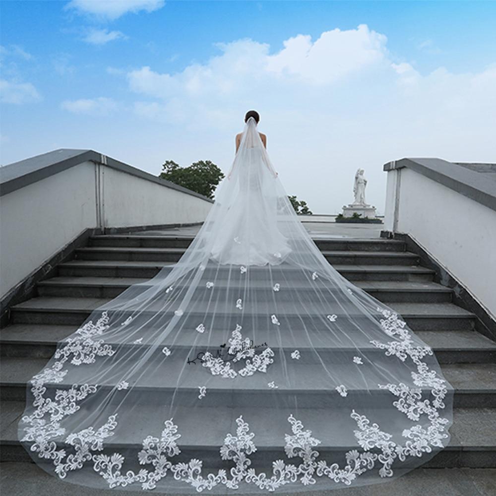 3 M Branco Marfim Véus De Noiva Uma Camada de Comprimento Catedral Laço Nupcial Acessórios Véu Véu De Noiva Longo Com Renda