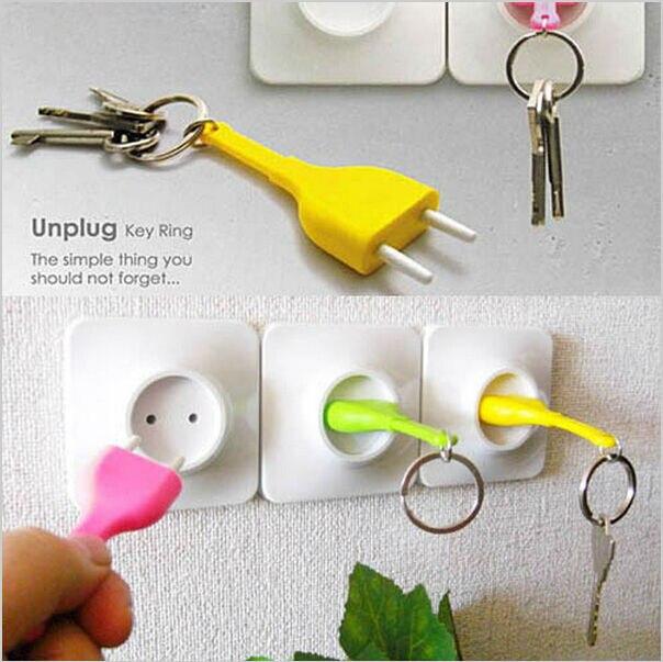 1set New Unplug key ring Key chain Rack key Hook key Hanger storage Key Holder housekeeper valentine's day birthday gift LW0288