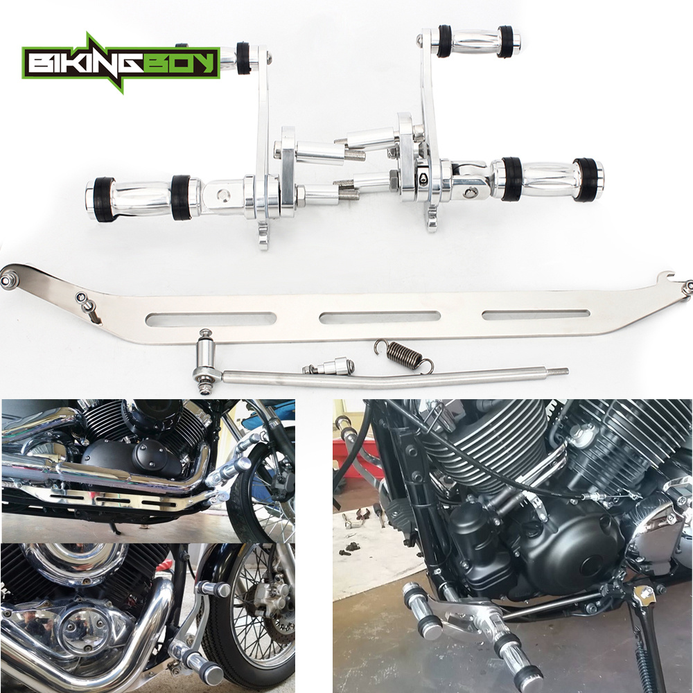 BIKINGBOY Forward Controls Footrests Footpegs Rear Sets for YAMAHA XVS650 V STAR 1998-2017 <font><b>16</b></font> XVS <font><b>400</b></font> Dragstar 96 97 98 99 00 01 image