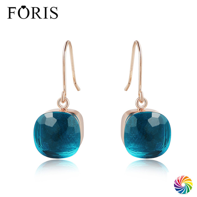 FORIS 18 Colors New Design Luxury Jewelry Rose Gold Crystal Earrings For Women Christmas Gift Best Price PE002