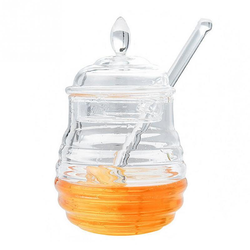 Acrylique Honey Pot sirop Bocal Distributeur Bee Hive cuisine porte-conteneur 200 ml