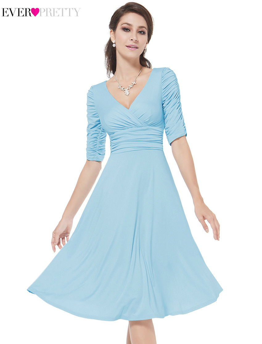 [Clearance Sale]   Cocktail     Dresses   Ever Pretty HE03632 Short Knee Length Three Quarter Sleeves V Neck Plus Size   Cocktail