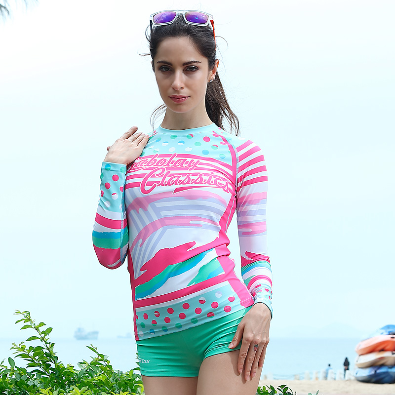 Polyester Swimwear Long Sleeve Slim Body Sunscreen Outdoor Surf Snorkeling Suit Tight Rash Guard Surfing Swimsuits