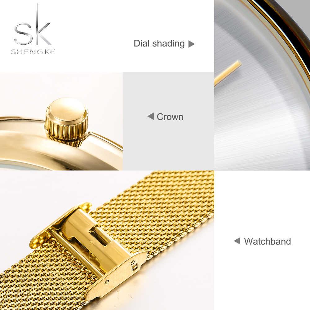 Shengke relojes dorados para damas relojes de pulsera de cuarzo mujeres Milan malla acero reloj de pulsera lrregular reloj Dial reloj femenino