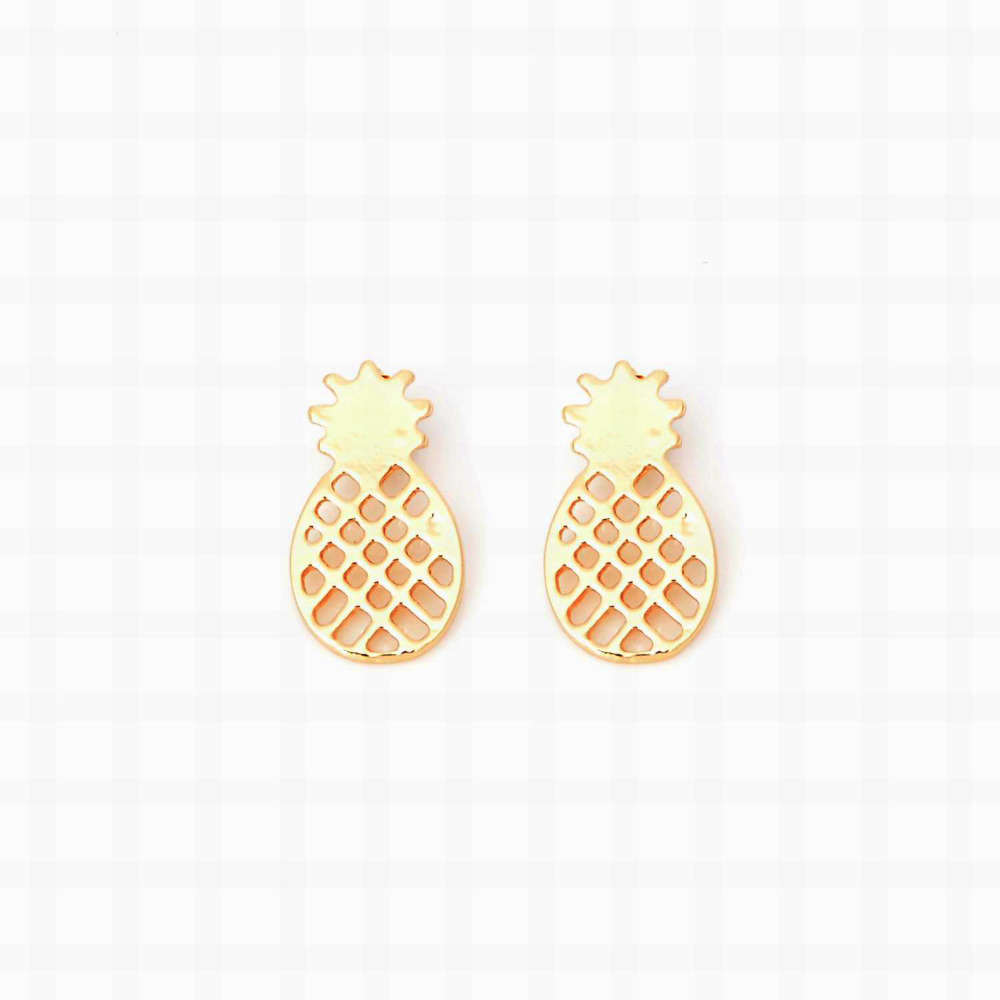 Lot New Arrival Brushed Pineapple Stud Earrings Dainty Minimalist  Gold Silver Color Earrings For