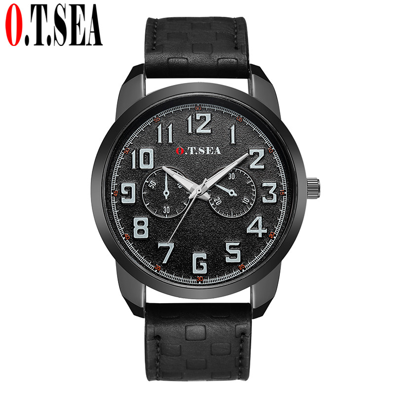Top O.T.SEA Brand Luxury Army Military Men Watches Casual Leather Sport Male Clock Quartz Wrist Watch 4048 weide new men quartz casual watch army military sports watch waterproof back light men watches alarm clock multiple time zone