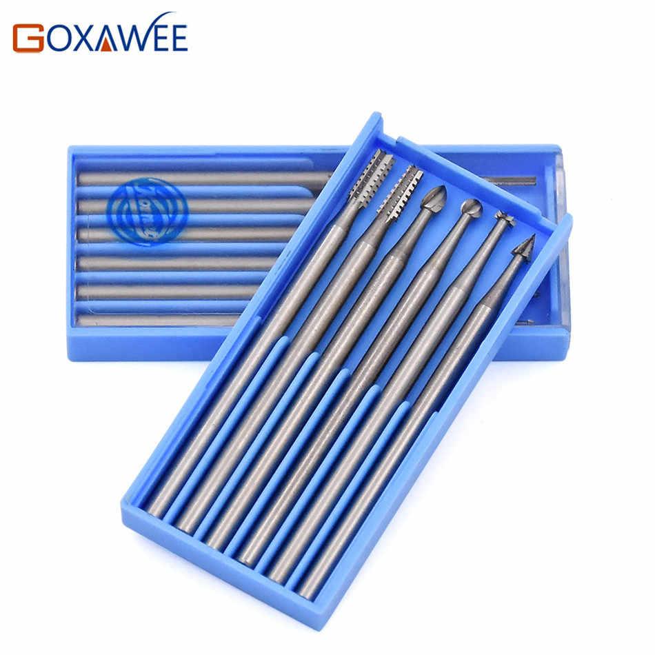 GOXAWEE, 6 uds. De fresas para herramientas eléctricas Dremel, accesorios, herramientas rotativas de fresa 009 #/014 #/018 #/023 #, herramientas abrasivas de acero