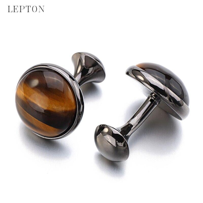 Butonët e rrathëve me gurë të ulët me luksoze Tiger-Eye për - Bizhuteri të modës - Foto 5
