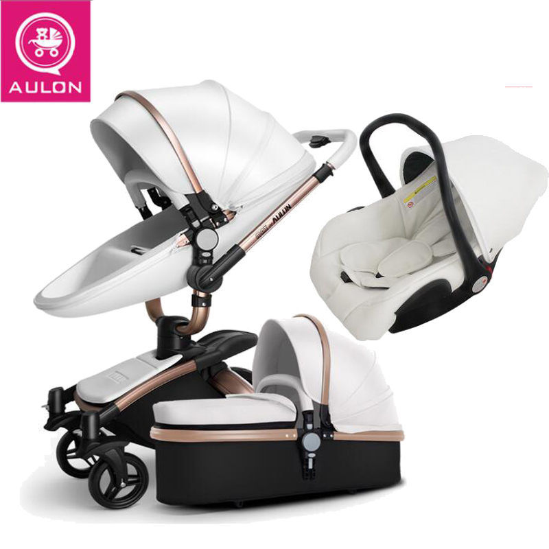 Cochecito de bebé AULON 3 en 1 y 2 en 1 cochecito de cuero artificial puede sentarse y reposar cuatro estaciones invierno Rusia envío gratis