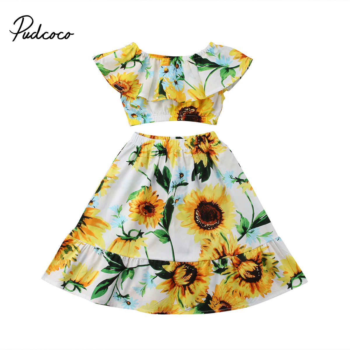 a6bb95df64d 2018 Brand New Toddler Infant Sunflower 2Pcs Kid Baby Girl Off Shoulder  Crop Tops Skirt Outfits