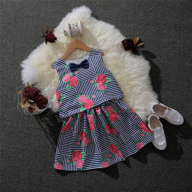 2017 Fashion Summer Boutique Outfits Girl Print Clothes Set Cartoon Print Sleeveless Tops Bow Tutu Leisure Skirts Suits for Kids 2016 new fashion boutique outfits for omika baby girls sets with 2 pcs cute print long sleeve tops bow tutu skirts size 4 12y