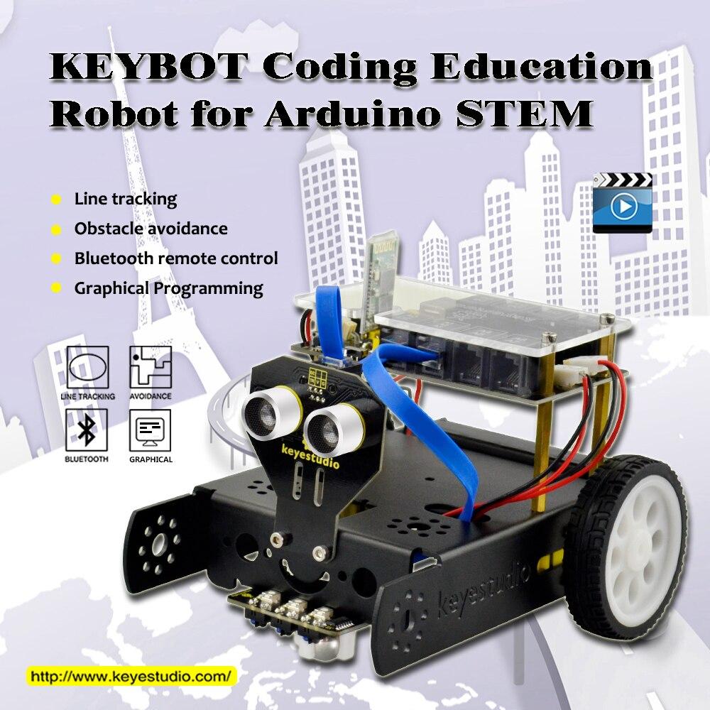 Keyestudio KEYBOT Coding Programmable Education Robot Car Kit + User Manual For Arduino STEM Graphical Programming