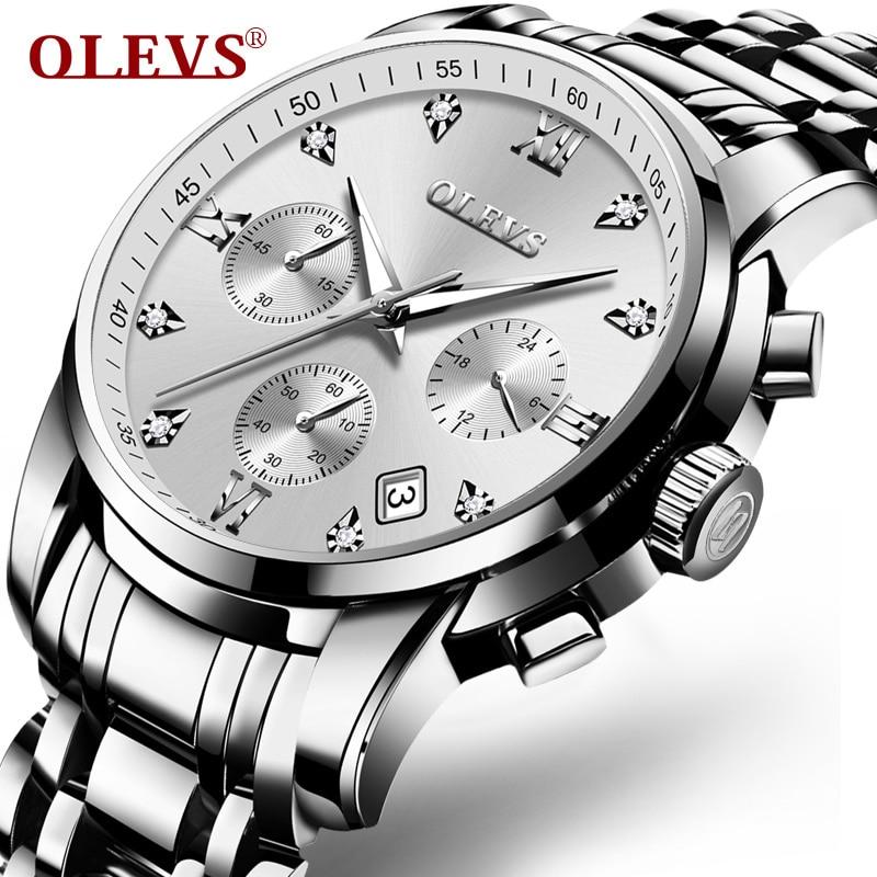 OLEVS Wrist watch mens watches top brand luxury Date steel Butterfly buckle quartz watch relogio masculino Sports Clock 2017 NEW цена